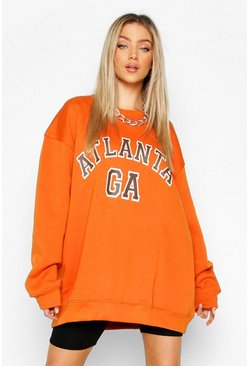 Burnt orange Oversized Atlanta Sweat