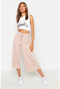 Sand beige O Ring Ribbed Slouchy Culottes