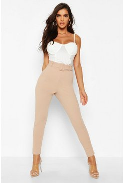 Sand beige Belted Cigarette Trousers