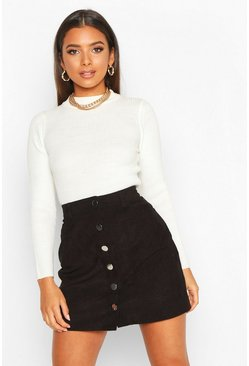 Button Through Cord A Line Mini Skirt, Black nero