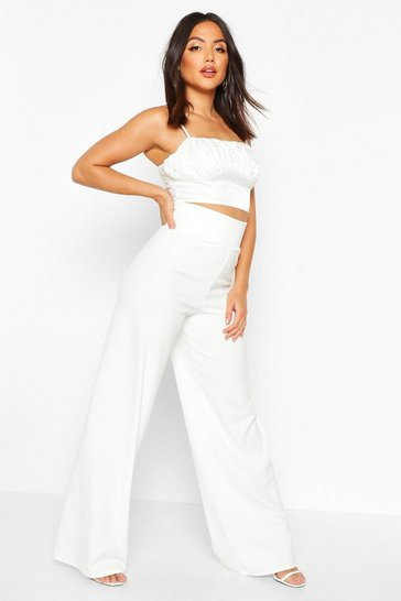 Ivory white Deep Contour Waistband Wide Leg Trousers