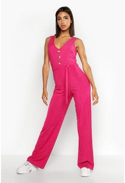 Hot pink pink Ribbed Button Through Wide Leg Jumpsuit