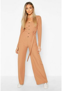 Camel beige Long Sleeve Horn Button Ribbed Tie Jumpsuit