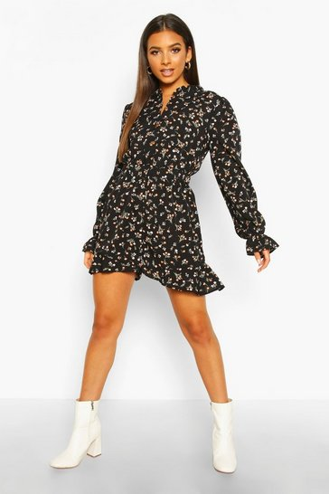 Black Ditsy Floral Ruffle Playsuit