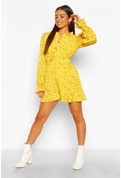 Mustard yellow Ditsy Floral Ruffle Playsuit