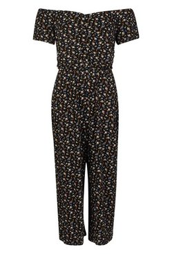 Black Dark Ditsy Print Jumpsuit