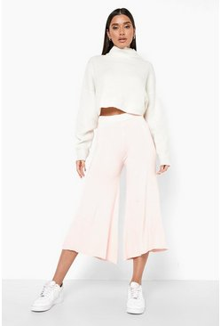 Rose pink Super Flare Jersey Wide Leg Culottes