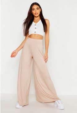 Sand beige Super Wide Leg High Waist Jersey Trousers