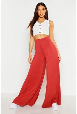 Terracotta orange Super Wide Leg High Waist Jersey Pants