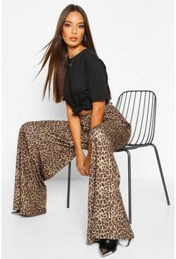 Tan brown Leopard Super Flare Wide Leg Trouser