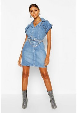 Indigo blue Belted Double Breasted Denim Dress
