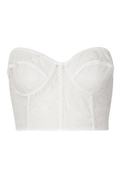 White Lace Panelled Bustier Bandeau Crop Top