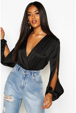 Black Satin Split Sleeve Wrap Bodysuit