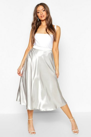 Oyster white Satin Full Midi Skirt