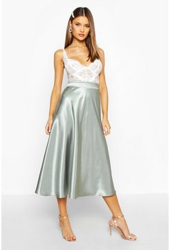 Sage green Satin Full Midi Skirt