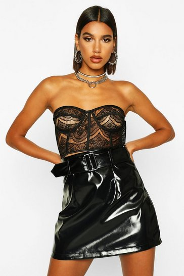 Black Vinyl Belted A Line Mini Skirt