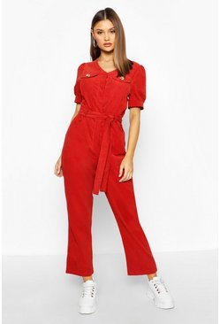 Rust orange Cord Puff Sleeve Ankle Grazer Jumpsuit