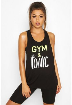 Black Fit Gym & Tonic Slogan Vest