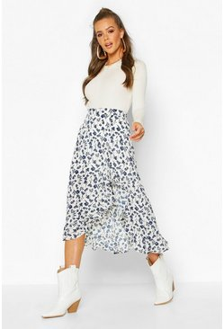 Blue Ruffle Front Floral Midi Skirt