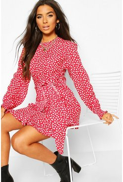 Red Woven Polka Dot Double Ruffle Hem Shift Dress