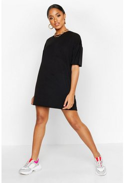 Black Oversized Crew Neck T-Shirt Dress