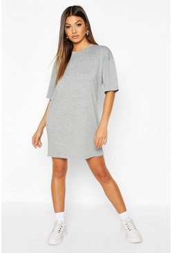 Grey Oversized Crew Neck T-Shirt Dress