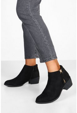Black Zip Side Round Toe Chelsea Boots