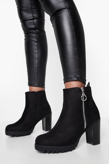 Black O Ring Pull Zip Side Block Heel Shoe Boots