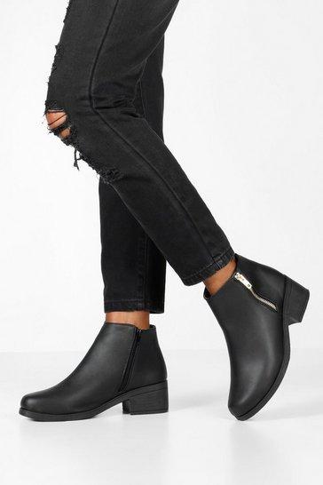 Black Zip Side Block Heel Chelsea Boots