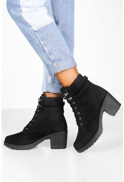 Black Padded Cuff Block Heel Hiker Boots