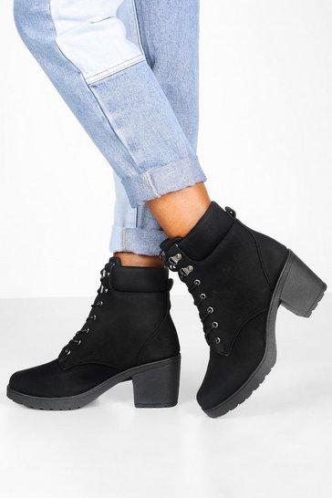 Black Padded Cuff Block Heel Hiker Boots