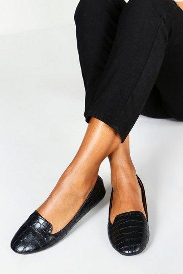 Black Wide Fit Tab Top Slipper Ballets