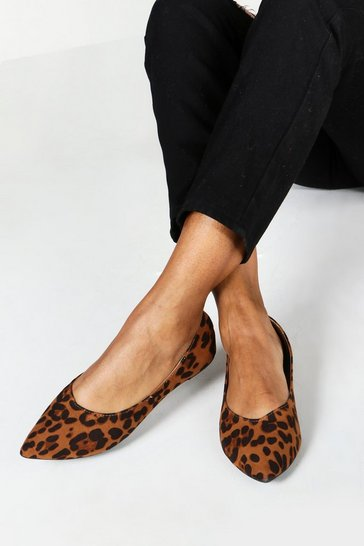 Wide Fit Leopard Pointed Ballets