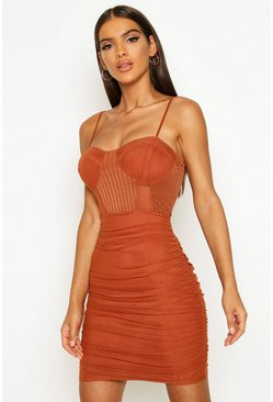 Rust orange Mesh Ruched Mini Dress