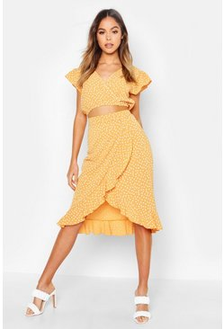 Mustard yellow Ruffle Polka Dot Top