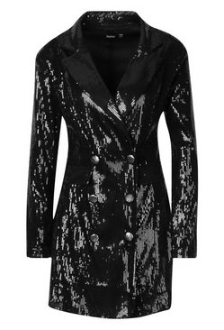 Black Sequin Double Breasted Blazer Dress
