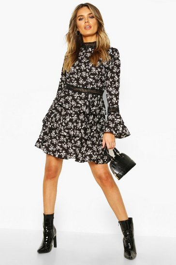 Black High Neck Floral Tiered Skater Dress
