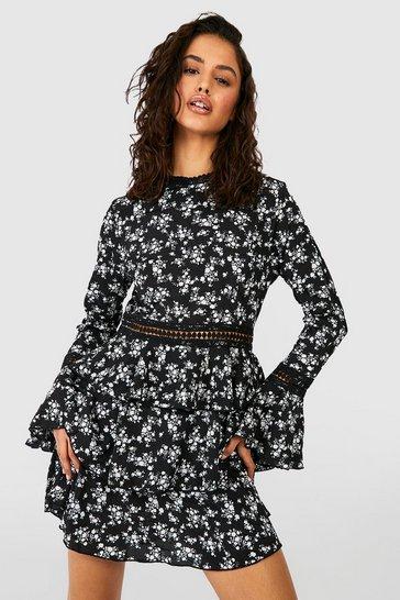 Black High Neck Floral Tiered Skater Dress