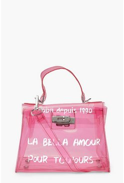 Mini sac à bandoulière transparent à slogan et mini verrou, Rose