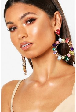 Multi Gem Statement Earrings