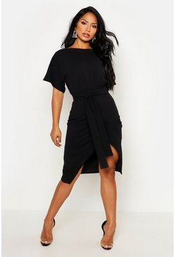 Stone Angel Sleeve Belted Wrap Midi Dress