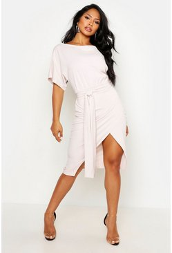 Stone beige Angel Sleeve Belted Wrap Midi Dress