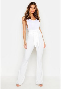 Ivory Tie Front Ribbed Flared Trousers