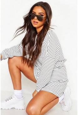 White Stripe Oversize T-Shirt & Short Rib Co-Ord
