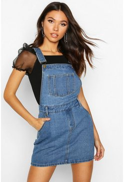 Mid blue blue Denim Overall Pinafore Dress