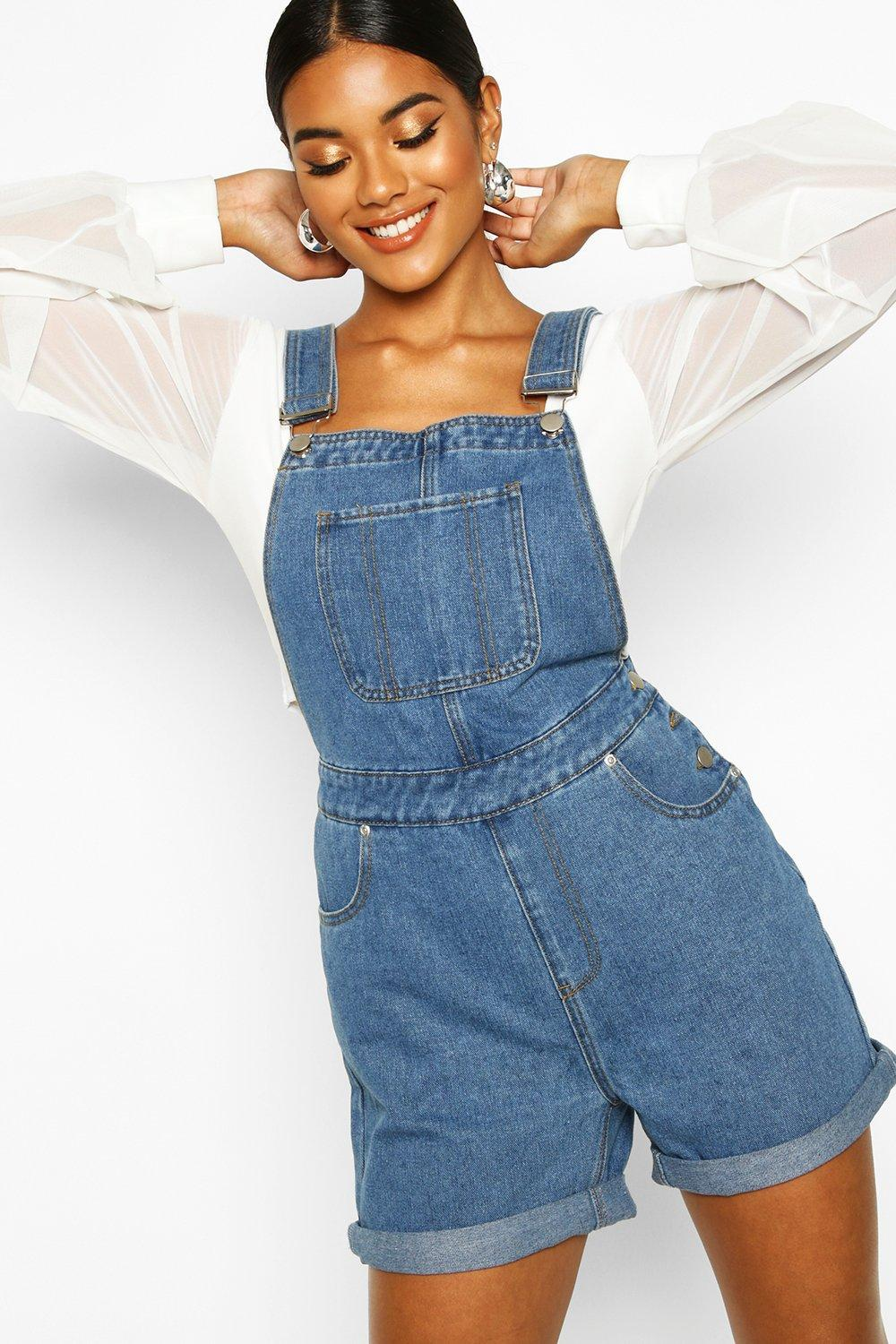 Don't Miss Out Denim Dungaree Shorts