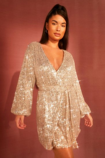 Nude Petite Belted Balloon Sleeve Sequin Dress