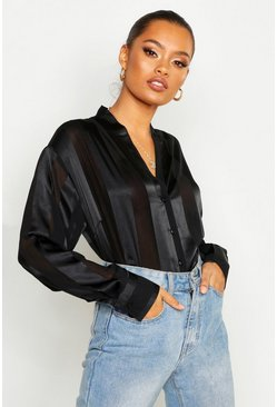 Black Satin Stripe Button Through Blouse