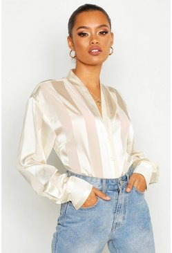Ivory white Satin Stripe Button Through Blouse