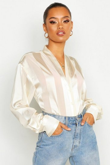 Ivory white White Satin Stripe Button Through Blouse